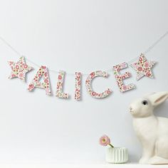 D'anjo Liberty Fabric And Card Personalised Garland