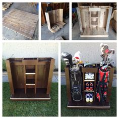DIY Golf Bag Storage System. Dual storage for clubs plus accessories/shoes. Made from recycled pallets. http://golfuniversityau.com/ Get the very best in Golf Push Carts and More @ http://bestgolfpushcarts.net/product-category/golf-push-carts/sun-mountain/