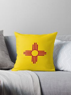 New Mexico Patriotic State Flag. • Millions of unique designs by independent artists. Find your thing. Throw Pillows Bed, Bed Throws, Floor Pillows, Decorative Throw Pillows, New Mexico Flag, Wall Tapestry, Original Art, January 6, Mountain States