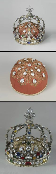 Crown of Louis XV, by Augustin Duflos, Paris, circa 1722. Gilded silver, imitation gemstones and pearls. It was the custom of the kings of France to have their own personal crown made for their coronation. Louis XV commissioned two crowns: one in enamelled gold and the other, now in the Louvre, in silver-gilt embellished with precious stones. In 1729, however, this crown was dismantled and the original jewels replaced with paste imitations.