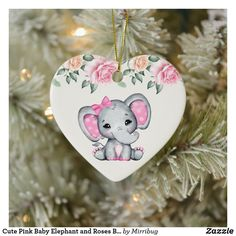 Cute Pink Baby Elephant and Roses Border Ceramic Ornament Baby First Christmas Ornament, Baby Ornaments, Heart Ornament, Babies First Christmas, Christmas Cards, Baby Girl Elephant, Pink Elephant, Beautiful Roses Bouquet, Floral Border