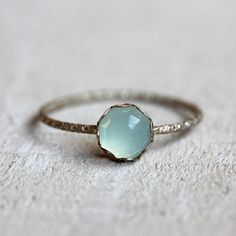 A brilliant and stunning rose cut blue chalcedony gemstone sits atop a patterned sterling silver band. Set is a scalloped sterling silver setting. PLEASE NOTE THAT Cute Jewelry, Jewelry Box, Jewelry Accessories, Silver Jewelry, Gold Jewellery, Jewelry Rings, Jewlery, Dress Jewellery, Jewellery Stand