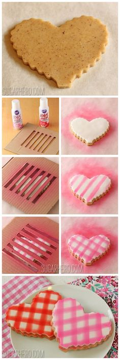Checkered heart cookie~ By Sugarhero, red, pink