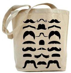 Canvas tote bag - Moustache Tote Bag.. $19.99, via Etsy.