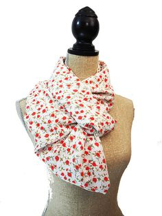 White Scarf Red Scarf Infinity Scarf Floral by CasualCornerShop