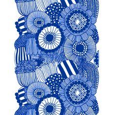 Marimekko Blue Siirtolapuutarha Fabric Repeat - Click to enlarge