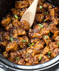 Super Easy Slow Cooker General Tso's Chicken. Way better (and healthier) than takeout!