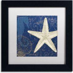 Trademark Fine Art Coastal Moonlight I Teal Canvas Art by Pela Studio, White Mat, Black Frame, Size: 16 x 16
