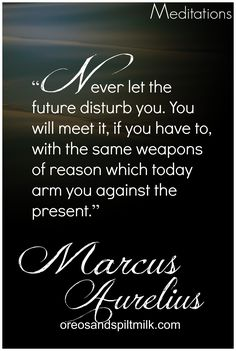 """Never let the future disturb you. You will meet it, if you have to, with the same weapons of reason which today arm you against the present."" -Marcus Auerlius"