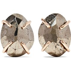 Melissa Joy Manning 14-karat gold pyrite earrings ($370) ❤ liked on Polyvore featuring jewelry, earrings, earring jewelry, 14 karat gold earrings, pyrite earrings, pyrite jewelry and 14k earrings