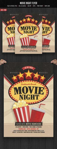 Movie Night Flyer Modelo de panfleto, Panfletos e Filmes - movie night flyer template