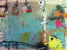 """I've again need to puke and a new faces 2012er me in the malhaus behind the mountain: """"behind you that ghosts that fuck you, before the shit your painting vomited """" 150 x 200 cm, mixed media on canvas, January 2012;"""