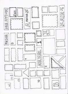 Different stamps - PostNL Office Themes, Zentangle Patterns, Mail Art, Post Office, Kids Education, School Projects, Art For Kids, Doodles, Stamp