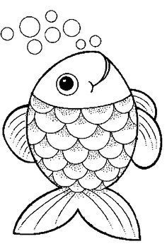 Farm Animal Coloring Pages For Preschool Fish Coloring Page, Animal Coloring Pages, Colouring Pages, Coloring Books, Art Drawings For Kids, Easy Drawings, Art For Kids, Fish Drawing For Kids, The Rainbow Fish