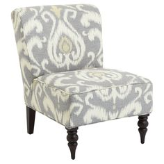 Addyson Chair - Gray Ikat- like the fabric but I think I'd change the front legs.