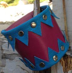 HOT PINK & blue leather CUFF bracelet by by whackytacky on Etsy, $45.00