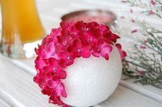 how to make a wedding pomander, kissing ball, or ornament with silk flowers | DIY