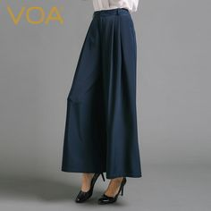Find More Pants & Capris Information about New navy blue color stitching zipper silk wide leg pants female fashion loose temperament trousers thick K6700,High Quality trousers men,China trousers baby Suppliers, Cheap trouser jeans plus size from VOA Flagship Shop on Aliexpress.com