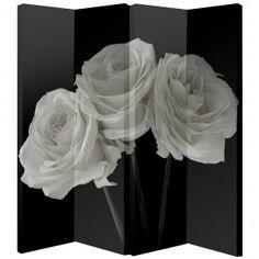 Arthouse 4 Panel Room Divider Black and White Roses 008111