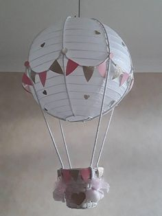Handcrafted Light Shade for New Babys Nursery/Childs Room HOT AIR BALLOON LIGHT SHADE /ADD YOUR OWN TOY Trying to choose a soft gentle lampshade for the nursery is not easy. This easy to hang lampshade is a perfect finishing touch to you Babys or Child's Special room Toy is not incuded