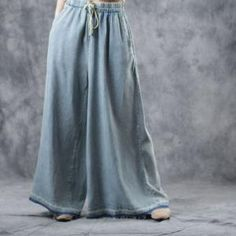 Buy Light Blue Plus Size Wide Leg Jeans Soft Cotton Maxi Frayed Jeans in Jeans online shop, Morimiss offers Jeans to make you feel comfortable Plus Size Dresses, Plus Size Outfits, Dresser, Wide Leg Jeans, Flare Skirt, Personal Style, Legs, Female, Cotton