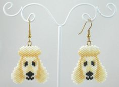 Beaded White Poodle Earrings by LazyRose on Etsy