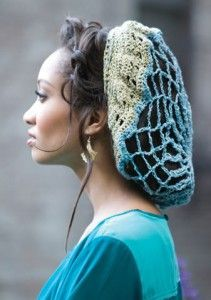 Free crochet snood pattern @  http://www.knitting-warehouse.com/free_knitting_patterns/Coats_Clark/RH_Stardust/GlitznGlamourHairnetCrochetPattern.pdf   Different style @  http://www.ravelry.com/patterns/library/gwenhwyfars-snood  by  Michele DuNaier