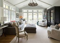 Relaxing Family Room. Ceiling and windows.  Take an old ranch and do this.