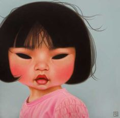 Painting by artist Poh Ling Yeow: born in Kuala Lumpur, Malaysia into a fifth-generation Malaysian Chinese family. Poh is also a great chef - MasterChef Australia 2009 and Poh´s Kitchen. Masterchef Australia, Weird Pictures, Beautiful Pictures, Indigenous Art, Australian Artists, Chinese Art, Beautiful Paintings, Rock Art, Female Art