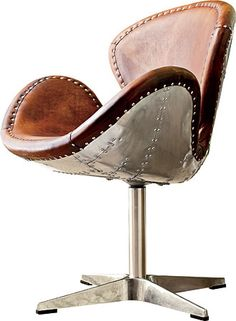 Airplane seat with distressed leather.