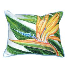 Betsey Drake Bird of Paradise Multicolored Polyester 16-inch x 20-inch Throw Pillow (Bird of Paradise Pillow 16x20), Multi