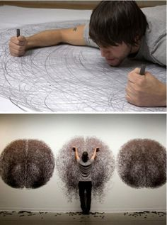 Human spirography, Tony Orrico makes these stunning drawings for 4 hours sometimes to make one large piece. I think they are just an amazingly beautiful feat of patience.
