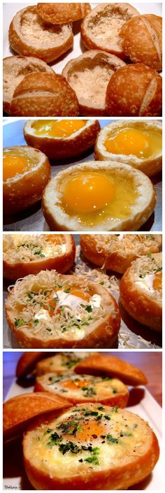 Start Recipes: Baked Eggs in Bread Bowls. Use your imagination and add other ingredients such as veggies, bacon and fresh basil! Delicious!