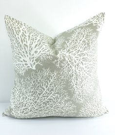 Coral Driftwood  Pillow cover. Taupe Grey by TwistedBobbinDesigns
