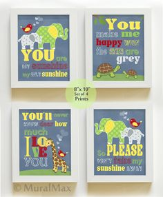 You are My Sunshine Art Prints for Nursery or Kids by MuralMAX, $48.00