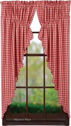 Ninepatch Star prairie curtain burgundy check | House Ideas ...