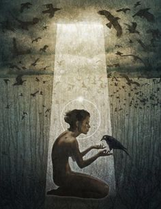 """""""The messenger"""" Digital Art by Jason Engle - Fine Art Art Magique, Illustration Arte, Quoth The Raven, Meditation, Crows Ravens, Rabe, To Infinity And Beyond, Art Graphique, Our Lady"""