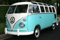 Old VW van in a pretty color.