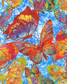 Dreamscapes II - Butterfly Spectacle - Sky Blue - DIGITAL PRINT - Quilt Fabrics from www.eQuilter.com