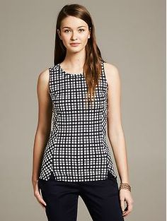 Windowpane Ponte Shell | Banana Republic -  Mayu- this could work for your August plaid on that knit fabric you showed us