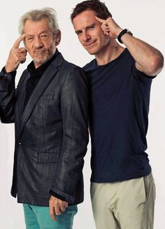 with Ian McKellen at Comic-Con 2013 (older and younger Magneto)