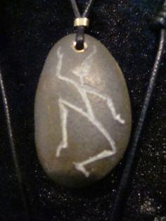 Bruce Pringle sprite engraved beach pebble pendant
