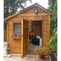 Escape to the tranquility of your own garden get away with this Outdoor Living Today Sunshed Western Red Cedar Garden Shed. Cheap Garden Sheds, Cheap Sheds, Backyard Sheds, Backyard Patio, Home Depot, Shed Conversion Ideas, Patio Grande, Cedar Garden, Cedar Fence