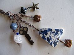 Handmade Charm Necklace Blue Delft Sea Pottery by SweetDaisyShoppe