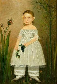 "GIRL IN GARDEN/ Artist unidentified, United States, c. 1840, Oil on canvas, 39 7/8 x 27 1/4"", Colonial Williamsburg Foundation, gift of Abby Aldrich Rockefeller, 1939.100.2. Ex coll. Juliana Force, Abby Aldrich Rockefeller."