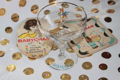 Babycham Advertisement Glass with Two Beermats Highly Collectable. by AtticBazaar on Etsy Beer Mats, Christmas Drinks, Blue Bow, Golden Brown, Kitsch, Wine Glass, Advertising, Cocktail, Lady
