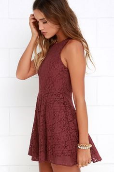 We're positive that the darling Lucy Love Hollie Jean Maroon Lace Skater Dress will be the perfect addition to your wardrobe! Gorgeous floral lace begins at a wide, rounded neckline atop a darted, sleeveless bodice. A classic fit-and-flare silhouette takes shape below as a full skater skirt sways with your every move! Hidden back zipper.