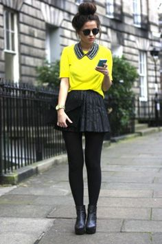 black and yellow with pleated leather skirt