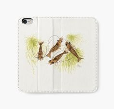 """Watercolor Shrimp"" iPhone Wallets, Cases & Skins by wildlife artist Amber Marine • AmberMarineArt.com • 