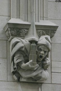 Gargoyle holding highrise on facade of Philtower. Tulsa, OK. Amazing detail on these old buildings!